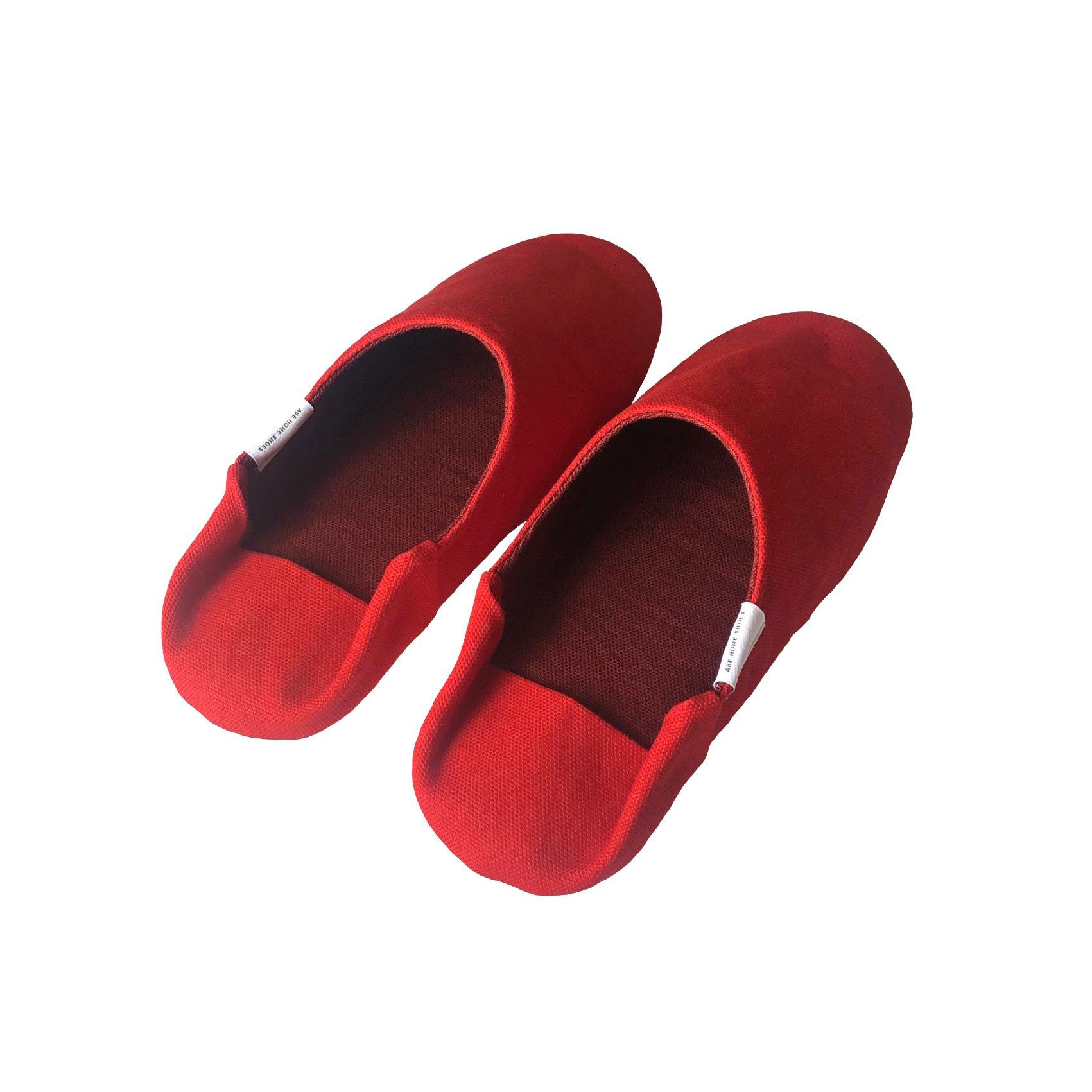 """帆布の""""バブーシュ"""" スリッパ CARDINAL RED(カーディナルレッド) -room shoes- <YAMAGATA>"""