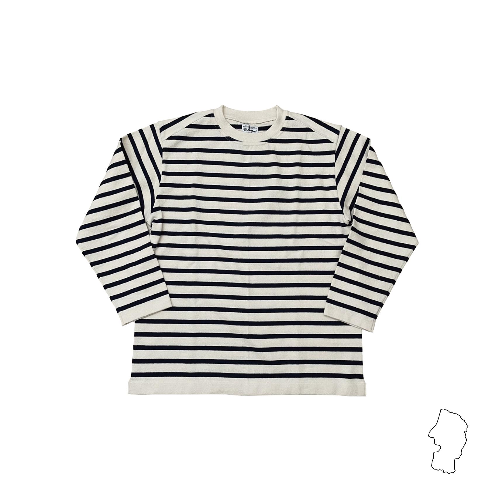 度詰め編みのコットンバスクシャツ クルーネック OFFWHITE × NAVY <YAMAGATA>