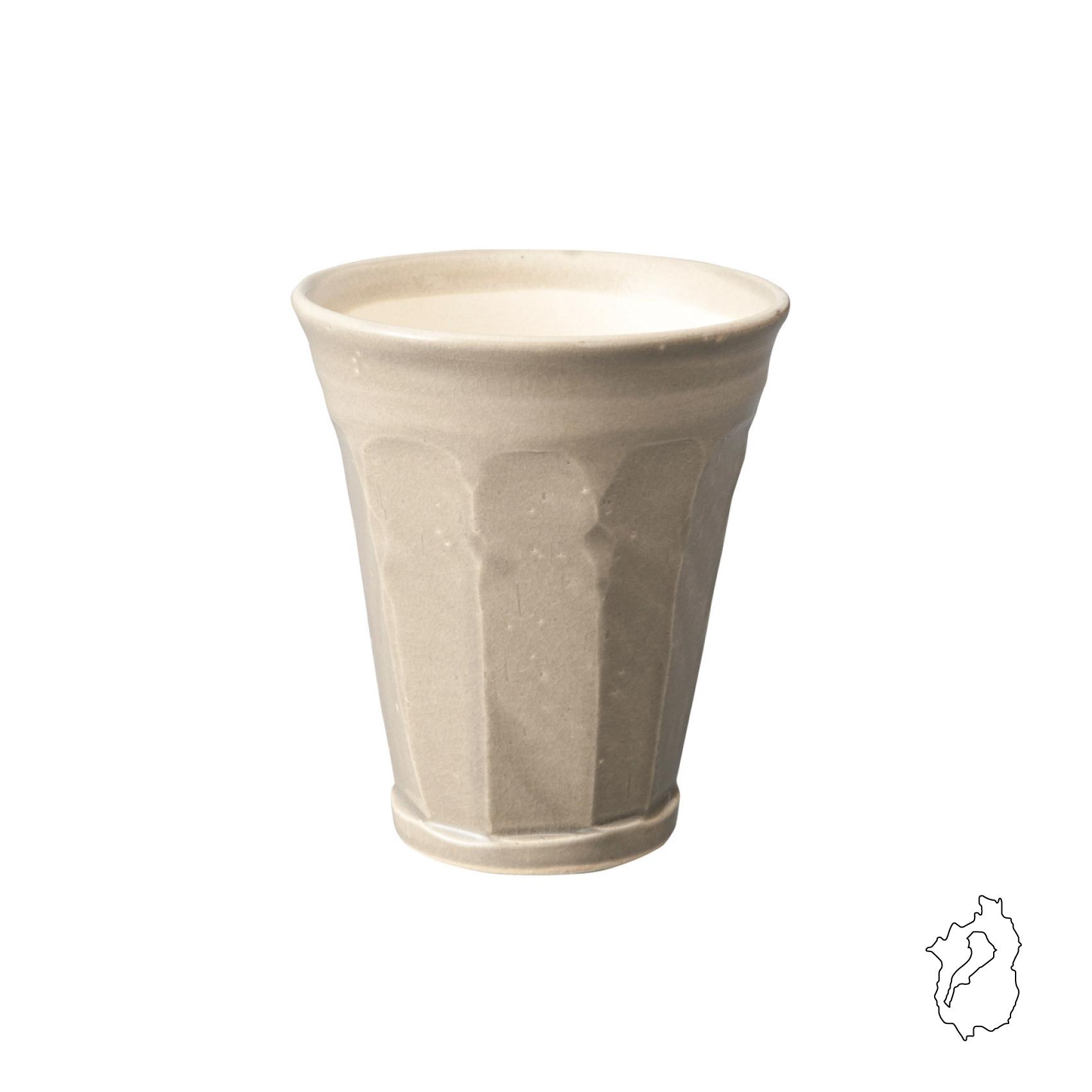 信楽焼 ホイップのような泡が持続する陶器グラス グレージュ 280ml <SHIGA>